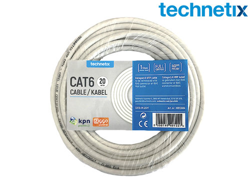Netwerkkabel CAT6, 20 meter wit